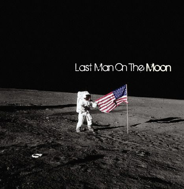 Astronaut Standing by American Flag on the Moon
